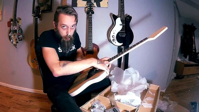 Left Handed Telecaster Style DIY Project Luthier Electric Guitar Kit Unboxing Review Painting Part 1